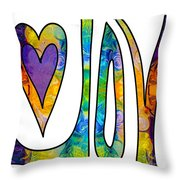 Purple Joy Abstract Inspirational Words Artwork By Omaste Witkow Throw Pillow
