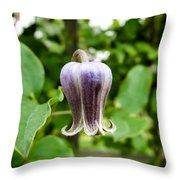 Purple Leather Flower Throw Pillow