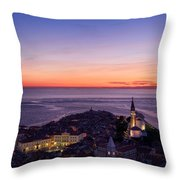 Purple Light On The Adriatic Sea After Sundown With Lights On Pi Throw Pillow