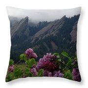 Purple Lilacs Flatirons Throw Pillow