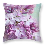 Purple Lilacs With Text Throw Pillow