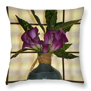 Purple Lilies In Japanese Vase Throw Pillow
