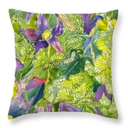 Purple Lillies And Baby's Breath Throw Pillow
