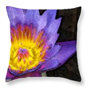 Purple Lotus Flower - Zen Art Painting Throw Pillow