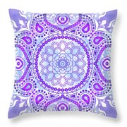 Purple Lotus Mandala Throw Pillow
