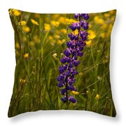 Purple Lupin And Buttercups Throw Pillow