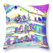 Purple Martin Bird House Throw Pillow
