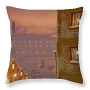 Purple Mine Town Throw Pillow