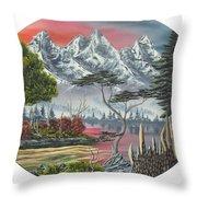 Purple Mountain Lake Throw Pillow