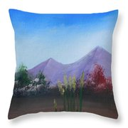 Purple Mountains In The Summer Throw Pillow