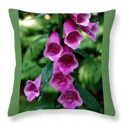 Purple Mouth Flowers Throw Pillow