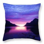 Purple Nordic Fjordland Sunset Throw Pillow