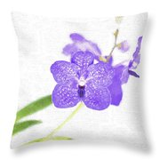 Purple Orchid Bloom Throw Pillow