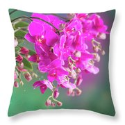 Purple Orchid Branch Throw Pillow