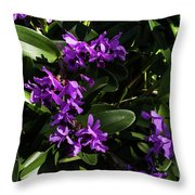 Purple Orchid Plant Throw Pillow