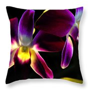 Purple Orchids 2 Backlit Throw Pillow