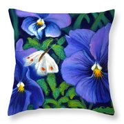 Purple Pansies And White Moth Throw Pillow