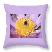 Purple Pasque Flower With Pollen Throw Pillow