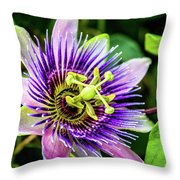 Purple Passion Bloom Throw Pillow