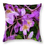 Purple Rain Lilies Throw Pillow
