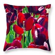 Purple Royals Tulips Throw Pillow