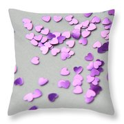 Purple Scattered Hearts I Throw Pillow