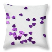 Purple Scattered Hearts II Throw Pillow