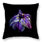 Purple Siberian Iris Flower Neon Abstract Throw Pillow