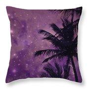 Purple Sky Palm Throw Pillow