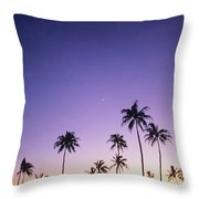 Purple Sky Palms Throw Pillow