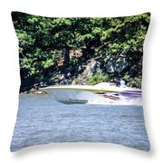 Purple Speed Boat Throw Pillow