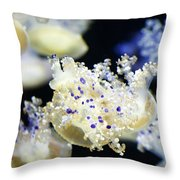 Purple Spotted Jellyfish  Throw Pillow