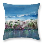 Purple Spring Landscape Throw Pillow