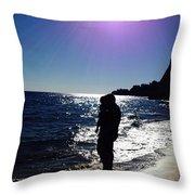 Purple Sun Evening Beach Throw Pillow