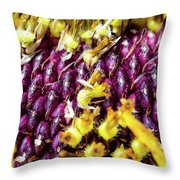 Purple Sunflower Seeds Throw Pillow