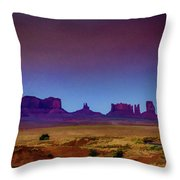 Purple Sunset In Monument Valley Throw Pillow