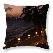 Purple Sunset In Saint Martin Throw Pillow