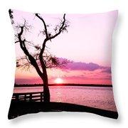 Purple Coastal Sunset Throw Pillow