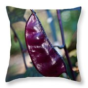 Purple Sweet Pea Pod Throw Pillow