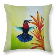 Purple-throated Carib And Bird Of Paradise Throw Pillow