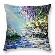 Purple Tree By The Lake Throw Pillow