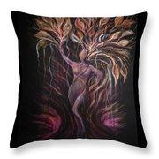 Purple Tree Goddess Throw Pillow