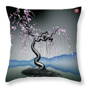 Purple Tree In Water 2 Throw Pillow by GuoJun Pan