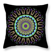 Purple Tulips Mandala Throw Pillow