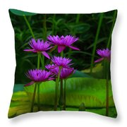 Purple Water Lilies Throw Pillow
