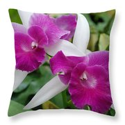 Purple White Orchids Throw Pillow