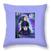 Purple Wise Woman Of The Sacred Raven Throw Pillow