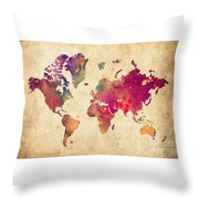 Purple World Map Watercolor Print  Throw Pillow
