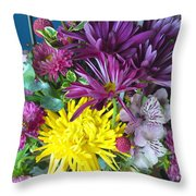 Purple Yellow Flower Mix Throw Pillow