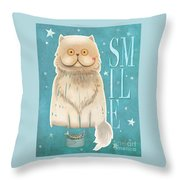 Purr, Smile Cat Throw Pillow